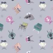 Lewis & Irene - Poodle & Doodle - 6372 - Lilac, Scattered Cats on Chairs - A364.2 - Cotton Fabric